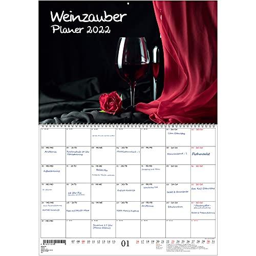 Weinzauber Planer DIN A2 aufgeklappt - Kalender für 2022 Wein und Weinberge - Seelenzauber