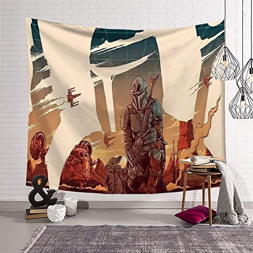 Tapiz decorativo de tela para pared, diseño mandaloriano, temporada 2, Din Djarin y Baby Yoda manta para dormitorio, sala de estar, 230 x 180 cm