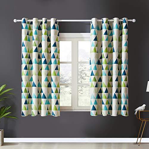 Topfinel Verdunkelungsvorhänge mit Ösen Geometrisches Dreieck für Fenster Wohnzimmer Schlafzimmer Kinderzimmer Kurze Gardinen mit Cream Hintergrundfarbe 2er Set je 137x117cm (HxB) Grün