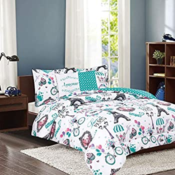 5-Piece Full/Queen Paris Comforter Bedding Set with Shams and Decorative Throw Pillows Teal Eiffel Tower French Café