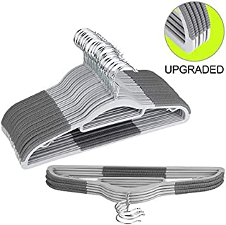 Fayleeko Clothes Hangers Plastic Space Saving, Coat Hangers Clothes Heavy Duty, Upgraded Rubber Stripe Non-Slip Coat Hangers,50 Pack Dry Wet Trousers Shirt Pants Hangers, Gray