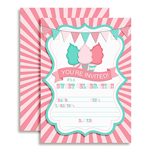 Cotton Candy Sweet Celebration Birthday Party Invitations, 20 5
