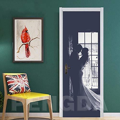 CBWRAW 3D-dörrklistermärke tapet väggdekor avtagbar vattentät vinyl heminredning hus romantiskt pardörr klistra affisch kan användas för vardagsrum sovrum badrum kontor 30 x 78 cm