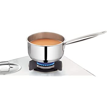 Borosil - Stainless Steel Sauce Pan with Lid, Impact Bonded Tri-Ply Bottom, 1.5 litres, Silver