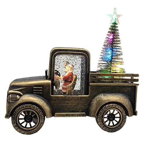 Kidnefn Camión de Navidad Modelo de Coche de camión LED/Camión de Navidad Coche de Juguete de Metal Vintage Camión de Vacaciones Fresco Adorno de Mesa Decoración para niños