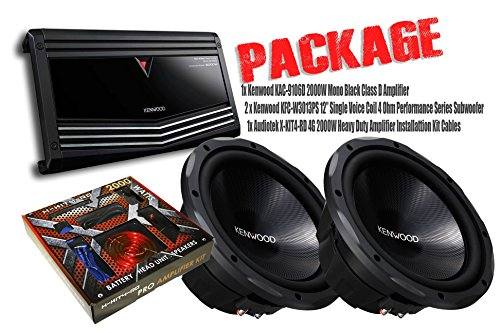 "PACKAGE ! 1 x Kenwood KAC-9106D 2000W Mono Black Class D Amplifier + 2 x Kenwood KFC-W3013PS 12"" Single Voice Coil 4 Ohm Performance Series Subwoofer + 1x Audiotek X-KIT4-RD 4G 2000W Amplifier Installattion Kit Cables"