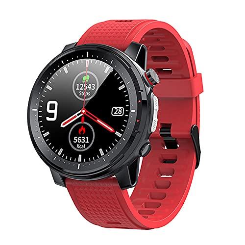 Reloj Inteligente Full Touch Hombres Reloj Deportivo Monitor de Ritmo cardíaco Redondo Control de música Cámara Linterna Smartwatch Ip68 Impermeable para iOS Android-Rojo
