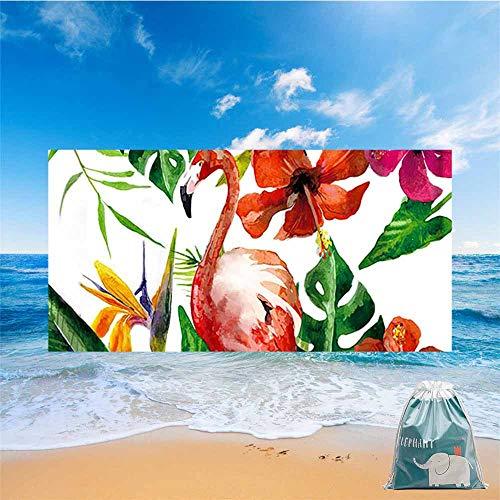 Fansu Toalla de Playa Secado Rapido Microfibra Absorción Plantas Tropicales, Rectangular Multi-Funcional para Toalla Baño Mantel Nadar Deportes Viajes Decoración (Flamenco Rojo,150 * 180cm)