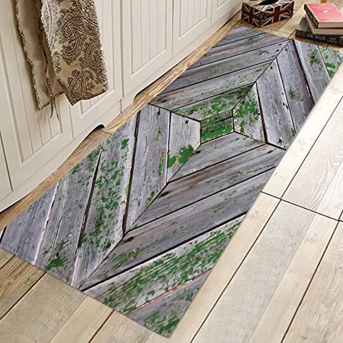 OPLJ Alfombrillas largas con Estampado escénico en 3D, Alfombrilla de Franela para Cocina, alfombras Antideslizantes para Dormitorio, Alfombra de Microfibra para Puerta, A4, 60x180cm