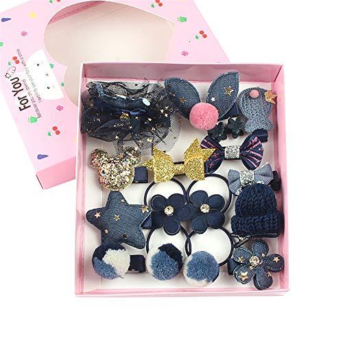 DIYARTS 18 STÜCKE Kinder Haarschmuck Kopfschmuck Niedlichen Bogen Haarnadel Set Boutique Haarspangen mit Box für Kinder Jugendliche Kinder (Blue)