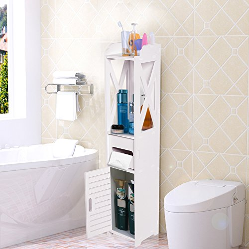 Mueble Columna de Baño Blanco, Armario de Almacenamiento de Madera para Sala de Estar, Dormitorio y Cocina, 15,5 x 15,5 x 80cm