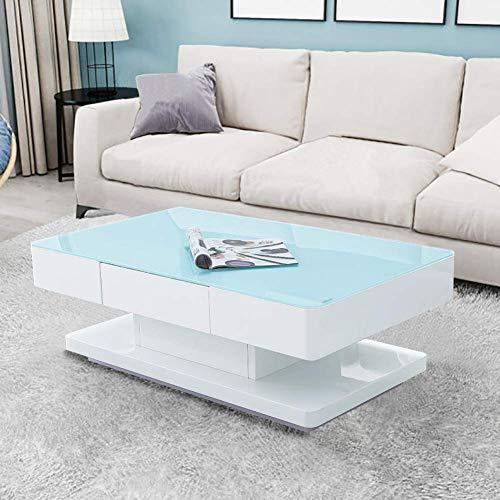 CLIPOP Mesa de centro de alto brillo, mesa de centro blanca para sala de estar con tablero de vidrio templado de 8 mm y 2 cajones de almacenamiento para muebles de oficina en casa