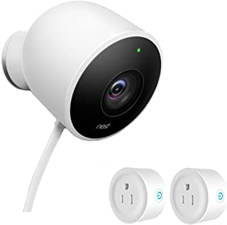 Nest (NC2100ES) Outdoor Security Camera, White with Deco Gear Pack WiFi Smart Plugs (1 Camera, 2 Smart Plugs)