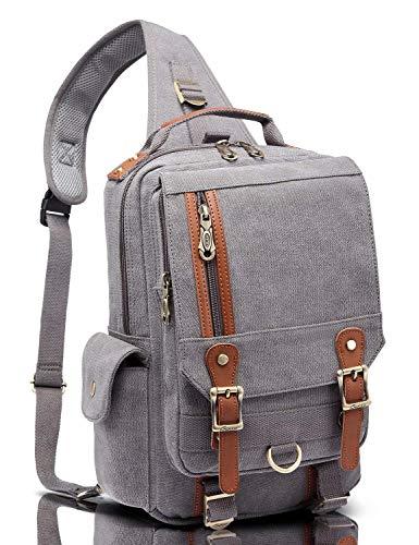Canvas Leather Outdoor Sling Bag KAUKKO Cross Body Messenger Bag Shoulder Backpack Daypack Grey