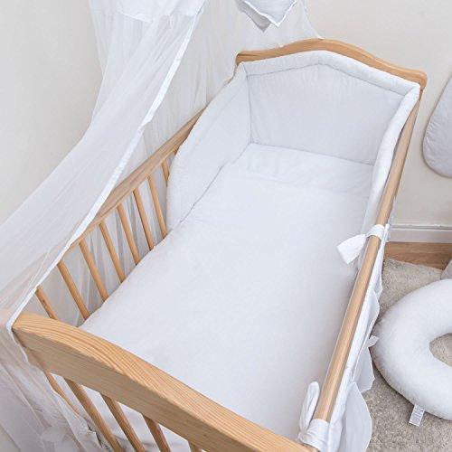 6 pièces Chambre Parure de lit avec pare-chocs pour lit bébé 140x70 cm - blanc