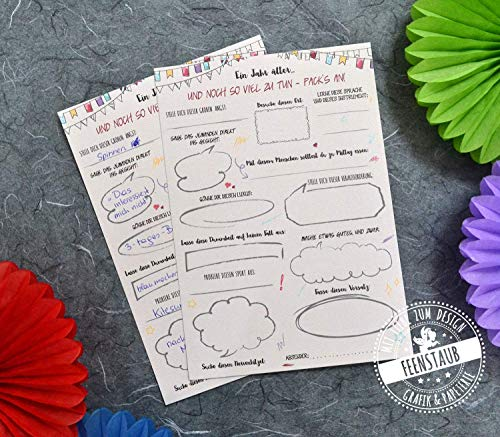 Geschenk-idee für Geburtstag, Gästebuch-karten mit witzige Fragen - bucket-list zum Ausfüllen