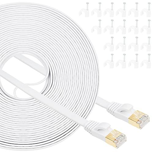 Cable de red de banda ancha cat7 gigabit de 20 metros, red Gigabit RJ45 de alta velocidad para consola, PS3, PS4, PS5, conmutador, router, módem, panel de conexión, PC