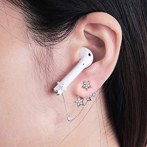 ALXDR Oído S925 Pendientes Stud Estrellada Un Par, Espumoso Circón, Anti-Perdida Clips para Las Orejas para El Auricular De Bluetooth
