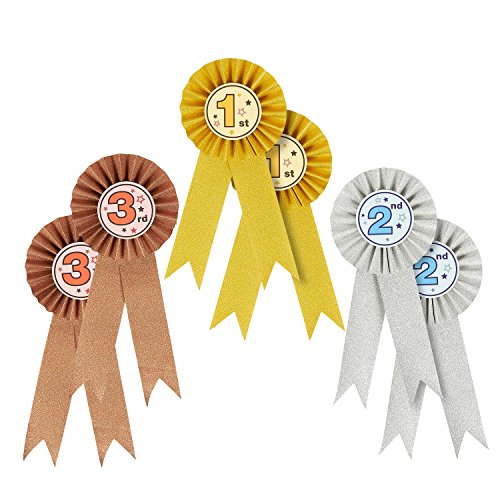 Juvale Rosetten für Gewinner (Set, 6 Stück) - Turnierschleifen 1, 2. und 3. Platz – Ideal für Sportveranstaltungen, Tiershows, Kochwettbewerbe, Talentshows - Gold, Silber, Bronze