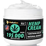 Hemp Cream 195,000 Blend – All-Natural Seed Oil Extract for Knee, Lower Back, Feet, Wrist and Joint Pain Relief - Extra Strength Massage Lotion with Arnica, Menthol and Organic Oils