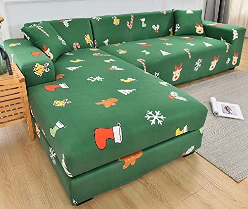 Funda Sofas 2 y 3 Plazas Regalo Verde Fundas para Sofa con Diseño Universal,Cubre Sofa Ajustables,Fundas Sofa Elasticas,Funda de Sofa Chaise Longue,Protector Cubierta para Sofá