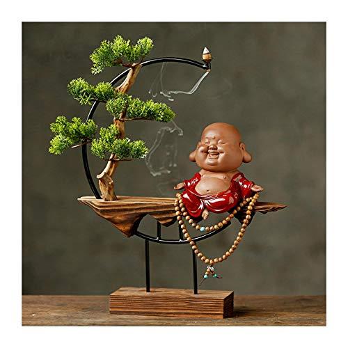 KGDC Decoración de Plantas Falsas Plantas de árboles de bonsái Artificiales con Base de Madera Buda Escultura e Incienso Asiento for la decoración de la Oficina en casa Árbol Bonsai Artificial
