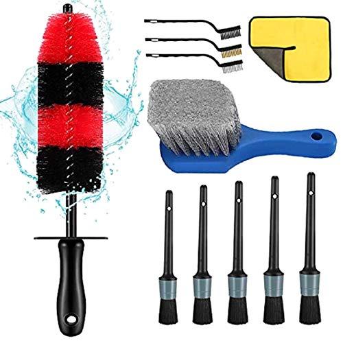 Phoetya Kit de cepillo para limpieza de ruedas de coche, cepillo de rueda y cepillo de detalles, detalle de limpieza de llantas, kit de cepillos para limpieza de ruedas (plata)
