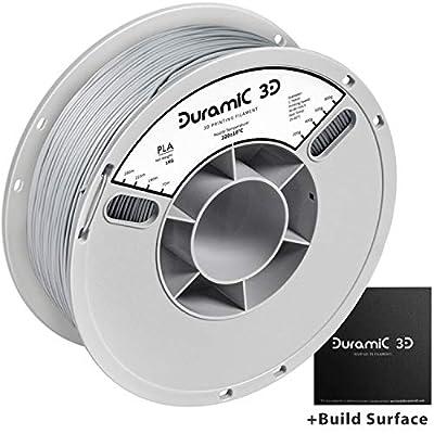 DURAMIC 3D Premium PLA Plus Printer Filament 1.75mm, 3D Printing Filament with Build Surface 200 x 200mm, 1kg Spool(2.2lbs), Dimensional Accuracy +/- 0.05 mm, Grey