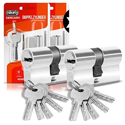 GERCAR Lot de 2 cylindres de serrure profilé 35/35 - Avec 10 clés - Fermeture identique - Longueur : 70 mm - A : 35 B : 35