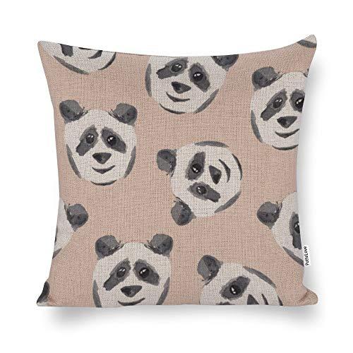 Promini Cute Black White Pink Watercolor Panda Cotton Linen Blend Throw Pillow Covers Case Cushion Pillowcase with Hidden Zipper Closure for Sofa Bench Bed Home Decor 20'x20'