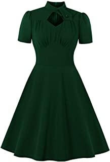 Wellwits Women's Mock Neck Diamond Cutout Pleated Front 1940s Vintage Dress