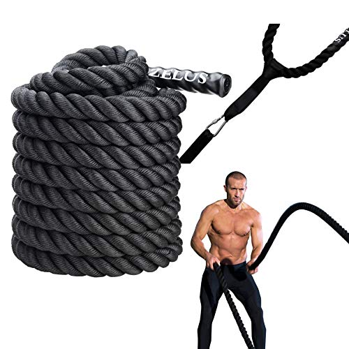 ZELUS Battle Ropes with Anchor Strap Kit   Pure Poly Dacron Exercise Ropes   38mm Diameter   9m 12m 15m Length   Exercise Training Battle Rope for Strength and Conditioning Workouts