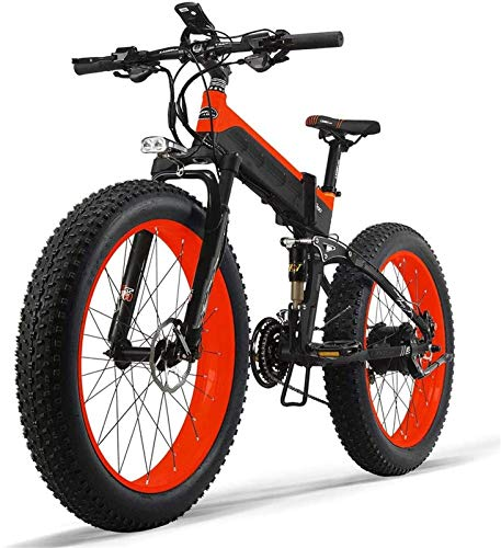 Electric Bike Electric Mountain Bike, Electric Mountain Bike 1000W 26inch Fat Tire e-Bike 27 Speeds Beach Mens Sports Bike for Adults 48V 13AH Lithium Battery Folding Electric bicycle for the jungle t