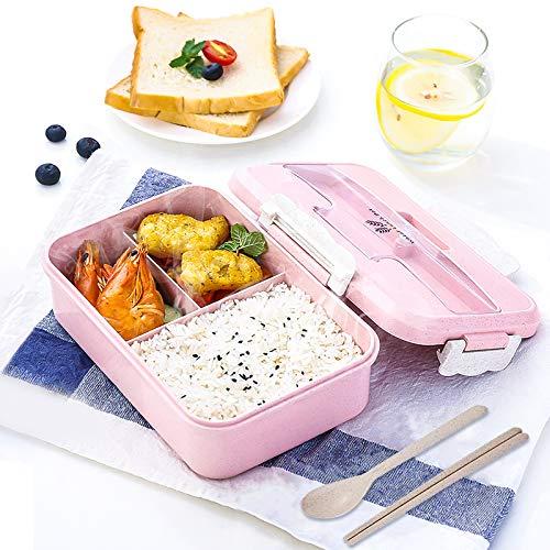 Gxhong Lunch Bento Box 1000 ml Fiambrera con 3 Compartimentos Caja de Almuerzo de Trigo con Cubiertos (Palillos y Cuchara) para Niños y Adultos