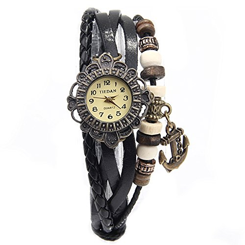 Old Rubin Retro Damen Leder Armbanduhr Anh?nger Quartz Strick Uhr - Individuell und Einzigartig wie der Tr?ger