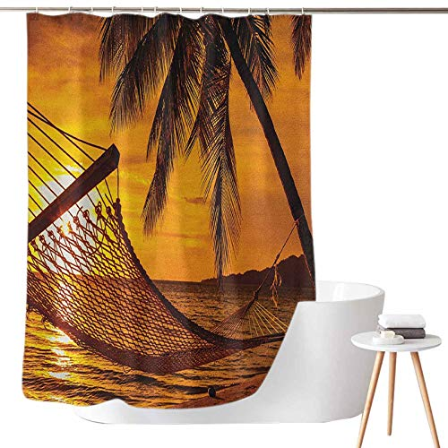 Dasnh Shower Curtains Sets Silhouette of Hammock by The Ocean on Tropical Beach at Romantic Sunset Seaside Artsy W65 x L72 Waterproof & Washable