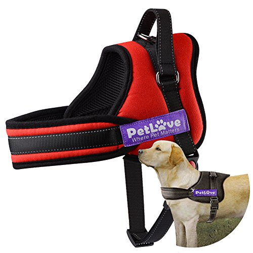 PetLove Dog Harness, Soft Leash Padded No Pull Dog Harness with All Kinds of Size -Red, Small