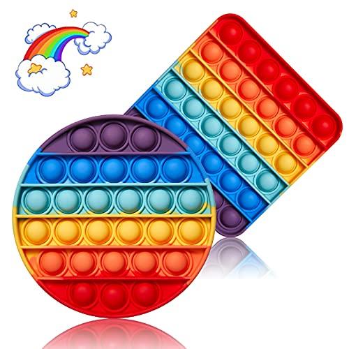 Push It Push Bubble Fidget Toy - Lote de 2 juguetes de silicona para niños y adultos