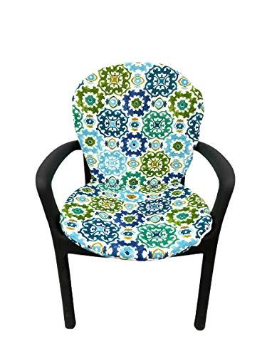 TIENDA EURASIA® Asiento Acolchado para Sillas de Terraza - 6 Estampados Modernos - 50 x 90 cm - Ideal para Decorar la Terraza y Jardín (Mosaico Azul)