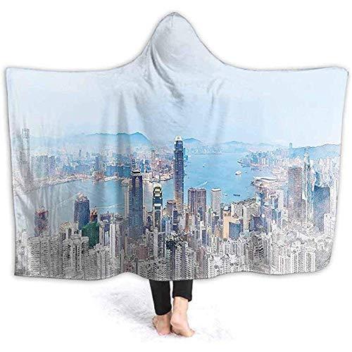 Manta con capucha impresa en 3D de 40 x 50 pulgadas con vista a los ojos H G K G G G en China The Morning Sky azul claro y Coc Ut sudadera con capucha, abrigo de viaje, adulto,
