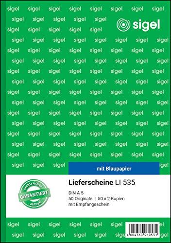 SIGEL LI535 Lieferscheine mit Empfangsschein, A5, 3x50 Blatt