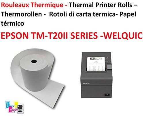 20 Bobines Papier thermique pour EPSON TM-T20II SERIES et WELQUIC 80 mm recharge standard TPV rouleau 80 x 80 X 12 mm, 50g standard adapté a toutes imprimantes. Marque UNIVERS GRAPHIQUE Ref UGEPSONTH