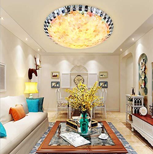 E27 Kreativ Deckenleuchte Tiffany-Stil Deckenlampe Vintage Glasmalerei Muschel Deckenleuchten Rund Einfache Klassische Esszimmer Wohnzimmer Schlafzimmer Korridor Hotel Studieren Deckenlicht,Ø40cm