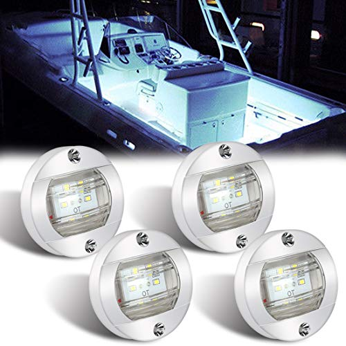 Boaton Boat LED Night Fishing Lights, Courtesy Lights, Deck Lights, Marine Boat Led Lights, Boat Interior Lights, Yacht Lights for Pontoon Boat, Bass Boat, Yacht (White)