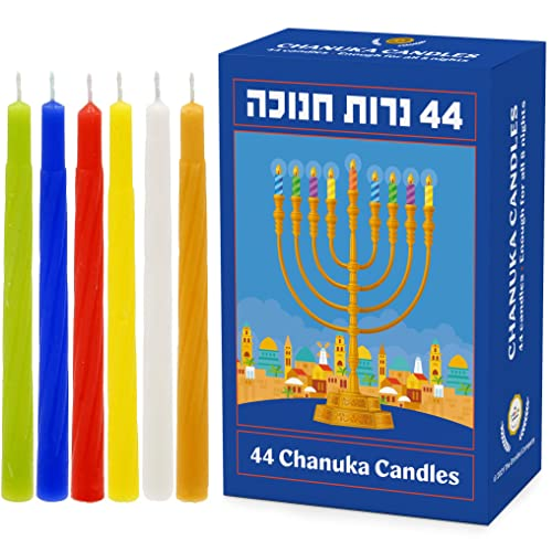 Hanukkah Candles Menorah Candles Chanukah Candles 44 for All 8 Nights of Chanukah - Made in Israel (Multicolored Candles, Single)