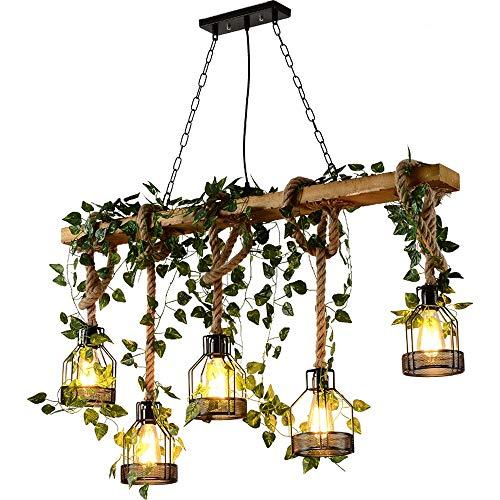 KDLK American Pastoral ijzeren hanglamp, retro land-kunst eettafel met 5 lampen, kroonluchter, E27 voor bar-café-restaurant clothing Store decoratieve verlichting