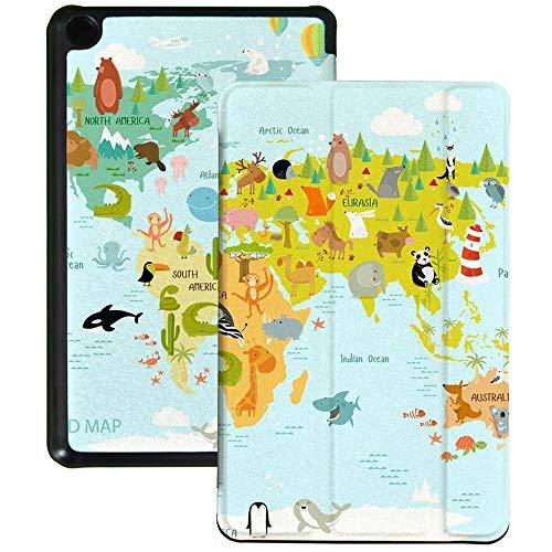 QIYI Funda para Kindle Fire 7 (9ª generación, 2019) de piel sintética impermeable Slimshell Kids Tablet Shell Multi-Angle Viewing Kindle Cover con Auto Wake/Sleep - Mapa del mundo de los animales