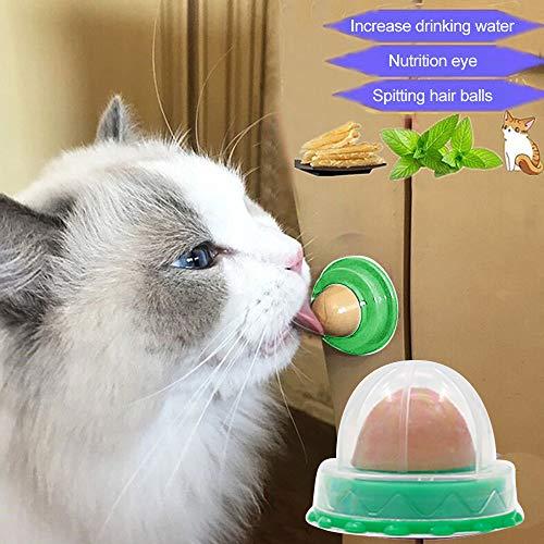FANMU - Bola de azúcar para gato, de gel de nutrición sólida, juguete de energía que puede aumentar el agua potable y ayudar a la digestión, bola de adhesivo de pared, diseño de hierba gatera natural, utilizado para el juguete de lamer de gato