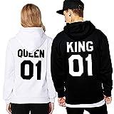 Pareja King & Queen Sudaderas con Capucha Manga Larga Casual Encapuchado Jersey Pull-Over para Mujer Hombre Blanco Queen Medium