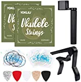 Ukulele Strings, Yoklili 5 Sets of Nylon Ukulele Strings with 10 Felt Picks, String Winder for Soprano (21 Inch) Concert (23 Inch) Tenor (26 Inch) Ukulele, and Capo included